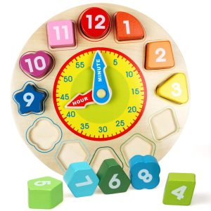 Webby Wooden Clock & Shapes Sorting Toy