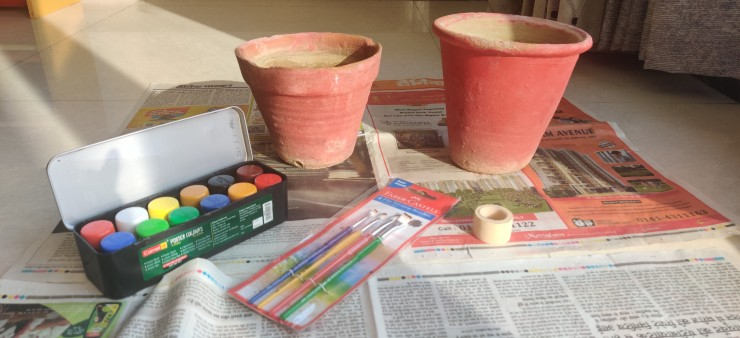 Supplies needed to Colour Flower pots using Masking Technique