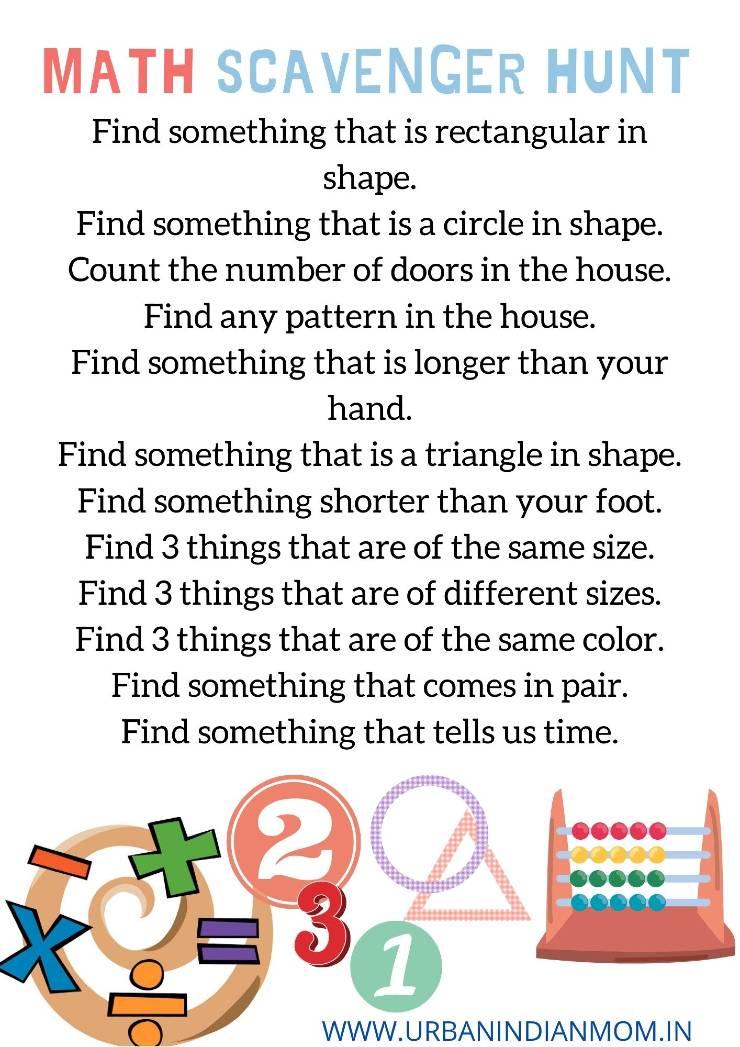 Math scavenger hunt for kids