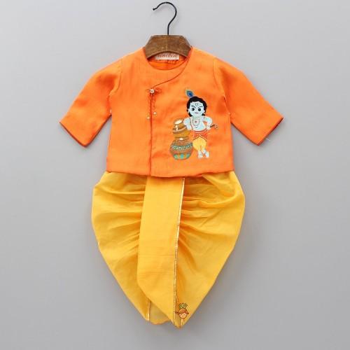 Orange Krishna Embroidered Angarkha And Yellow Dhoti