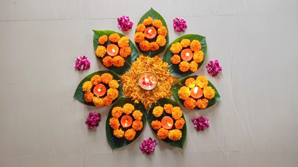 Flower rangoli designs for kids