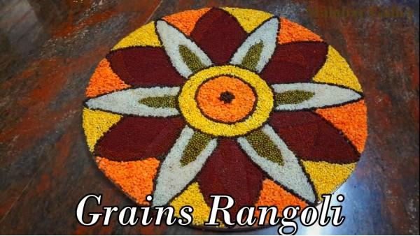Flower Design Grain Rangoli for kids