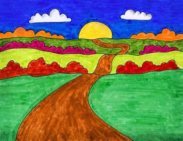 Sunset-Hill-Easy-Landscape-Drawing-for-kids