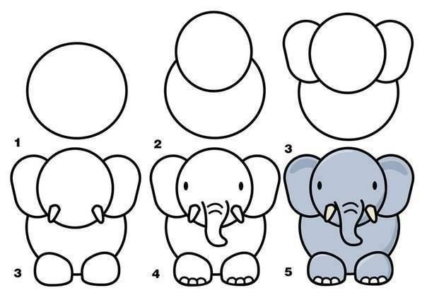 Simple Drawings for Kids elephant