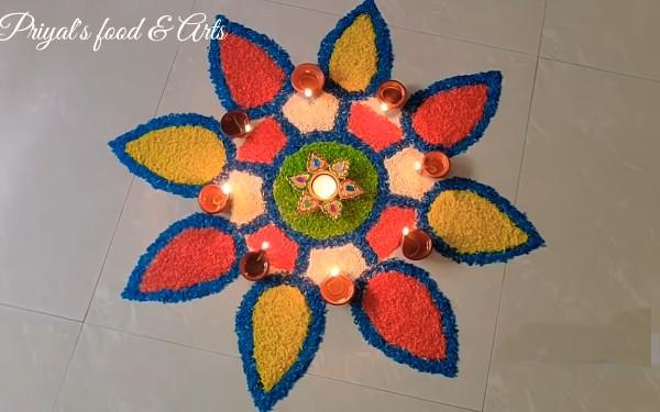 Flower Design Grain Rangoli