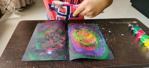 Make stars for Easy Galaxy Painting for Kids