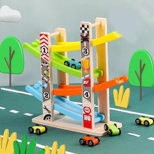 Wooden Car Race Ramp educational toy