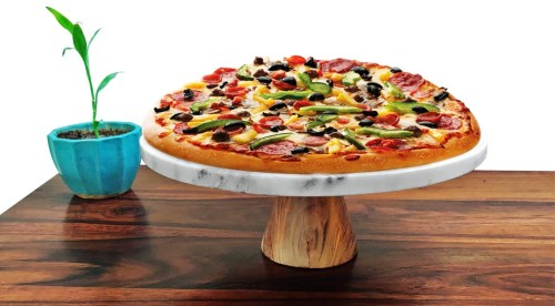 pizza on cake stand