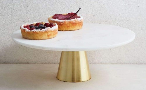 Coral Tree Marble Cake Stand with Brass Stand
