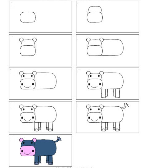 Easy Hippo Drawing for Kids Step by Step