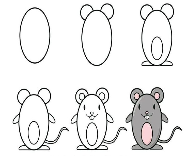 Easy Mouse Drawing for Kids Step by Step