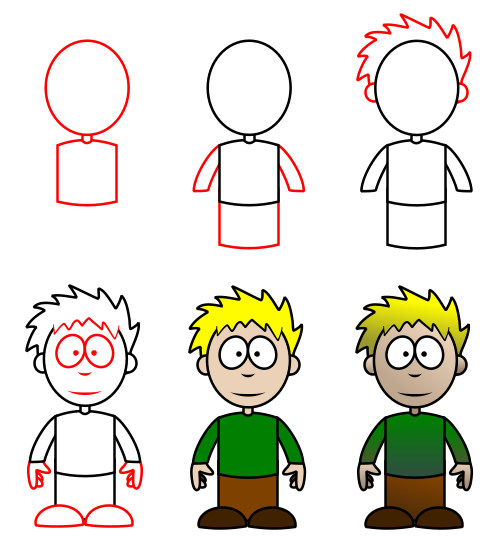 Easy Boy Drawing for Kids Step by Step