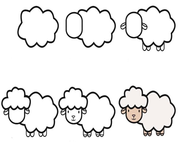 Easy Sheep Drawing for Kids Step by Step