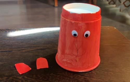 Paper Cup Tiger Craft Idea add eyes
