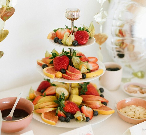 fruits on cake stand