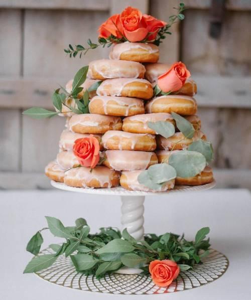 doughnuts on cake stand