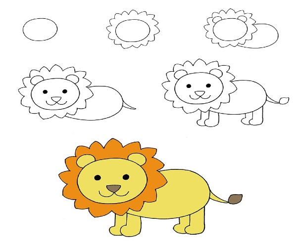 Easy Lion Drawing for Kids Step by Step