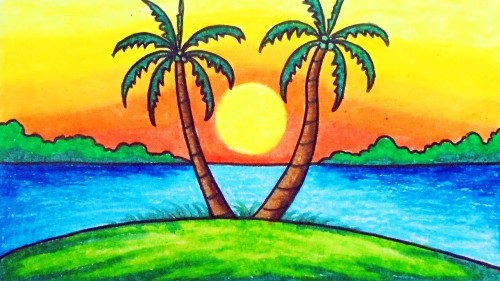 Easy Scenery Drawing for Kids sunset