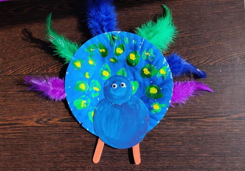 Paper Plate Peacock Craft Idea add feather