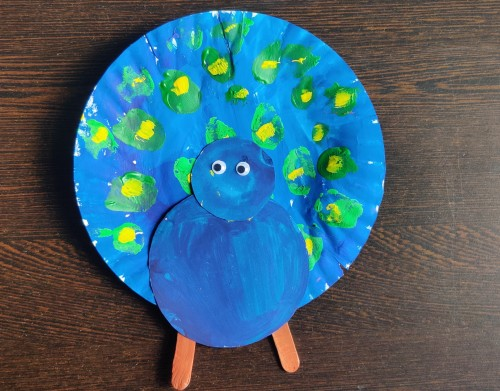 National Symbols of India Paper Plate Peacock Craft Idea add googly eyes