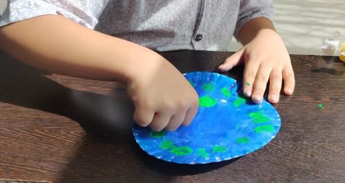 Paper Plate Peacock Craft Idea finger print