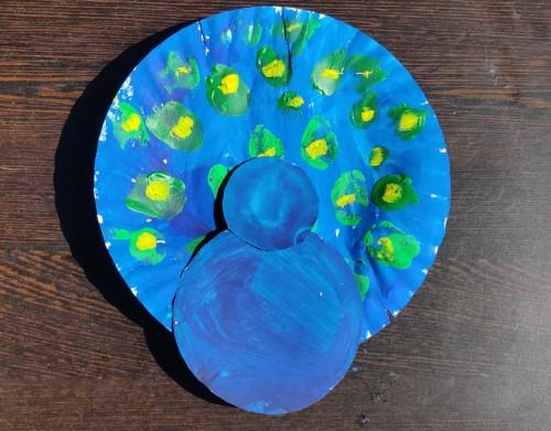 Paper Plate Peacock Craft Idea add head and bosy