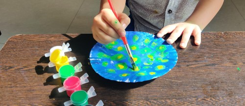 Paper Plate Peacock Craft Idea add yellow paint