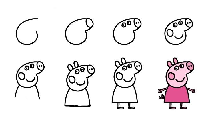 Easy Cartoon Drawing for Kids peppa pig